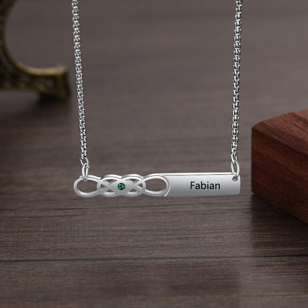 Personalized infinity birthstone and name necklaces