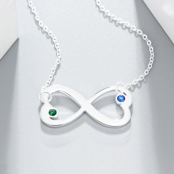 Personalized infinity hearts womens necklace