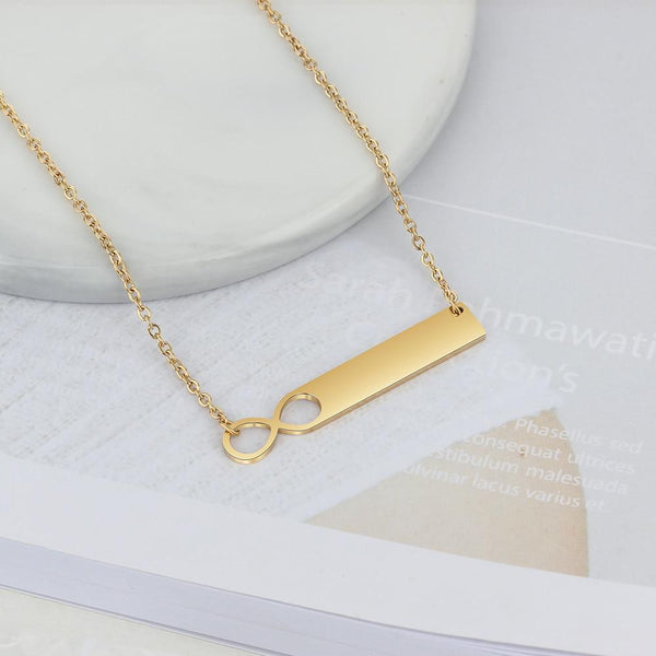 Personalized infinity name bar necklace
