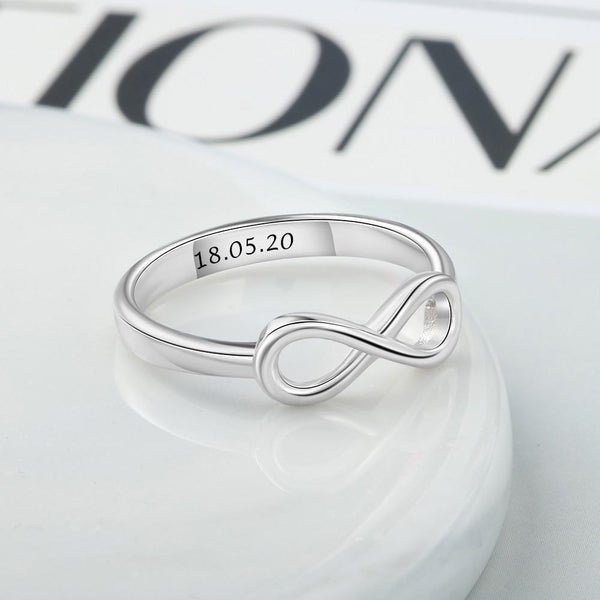 Personalized infinity 925 sterling silver womens ring