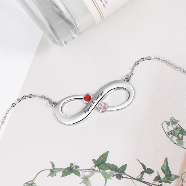 Personalized Birthstones Infinity Silver Necklace