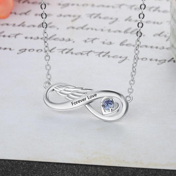 Personalized infinity angel wing necklace