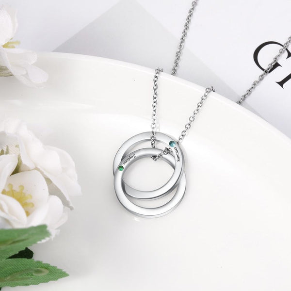 Personalized birthstones silver womens necklace