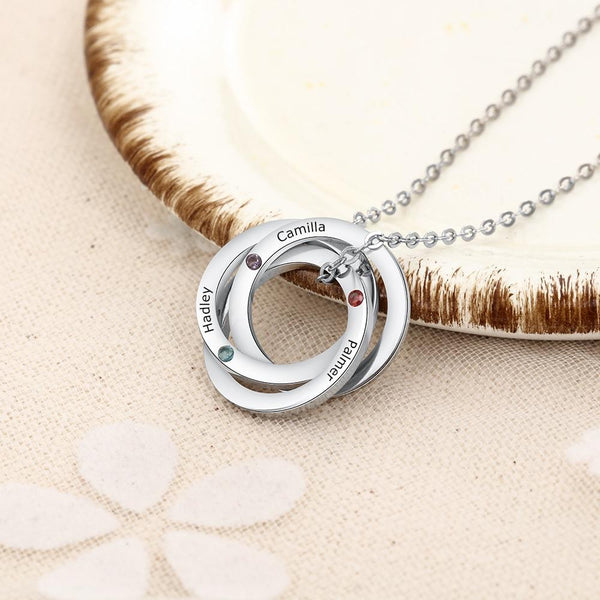 Personalized three birthstones silver necklaces