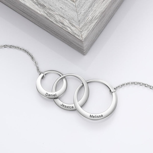 three personalized names womens necklace