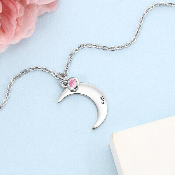 Moon lunar space personalized womens necklace