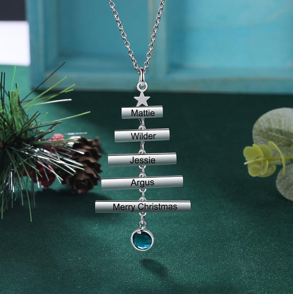 Christmas jewelry - Christmas tree personalized necklace
