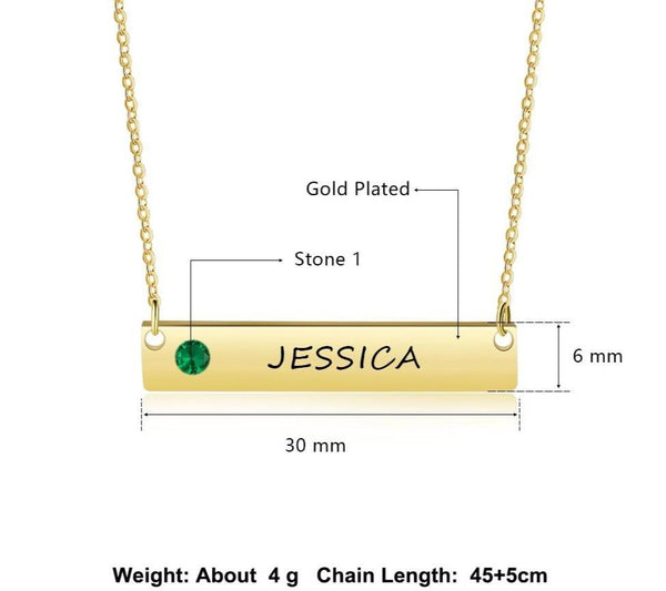 Personalized name bar womens necklace