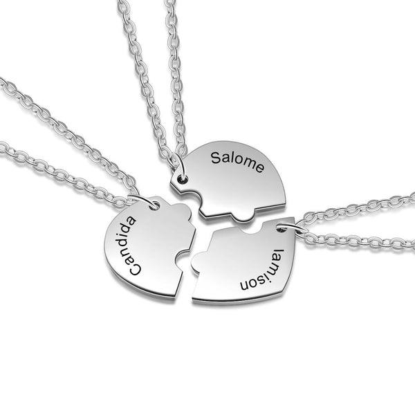 Personalized names three best friends necklaces