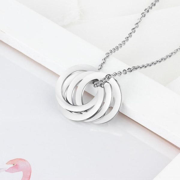 Personalized engraved silver womens necklace