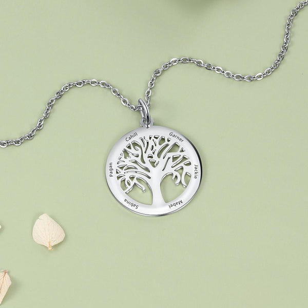Personalized family tree of life necklace