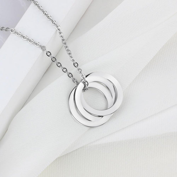 Personalized circles silver womens necklace