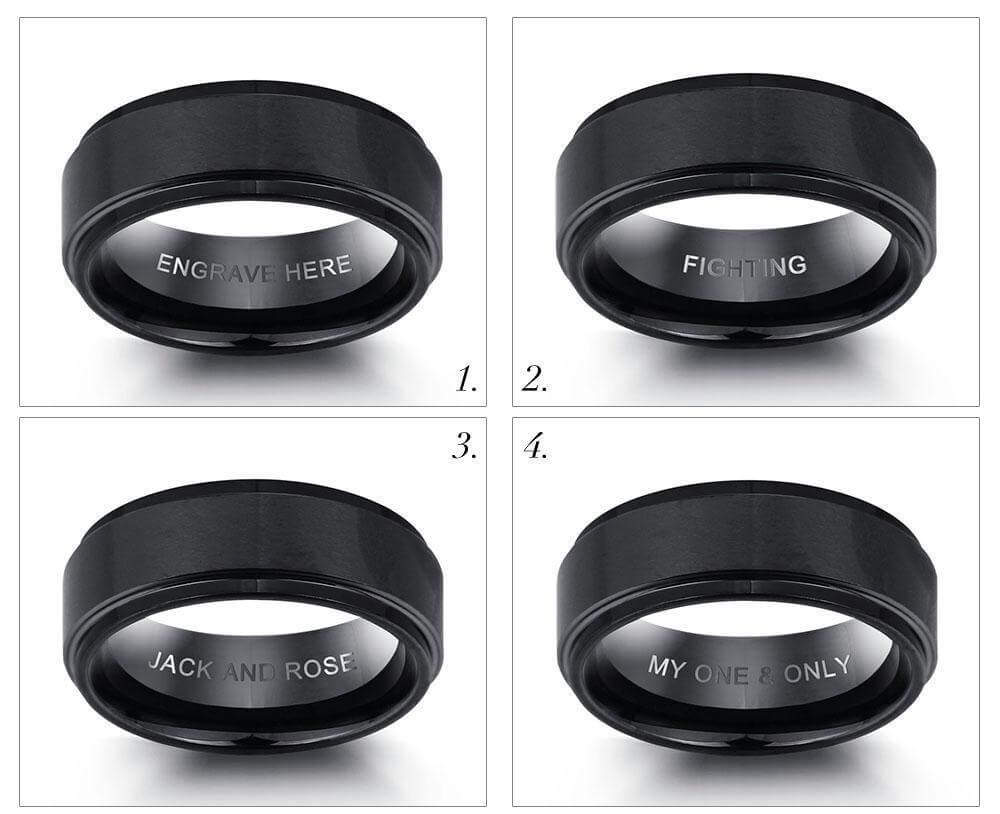 romantic engraved mens ring