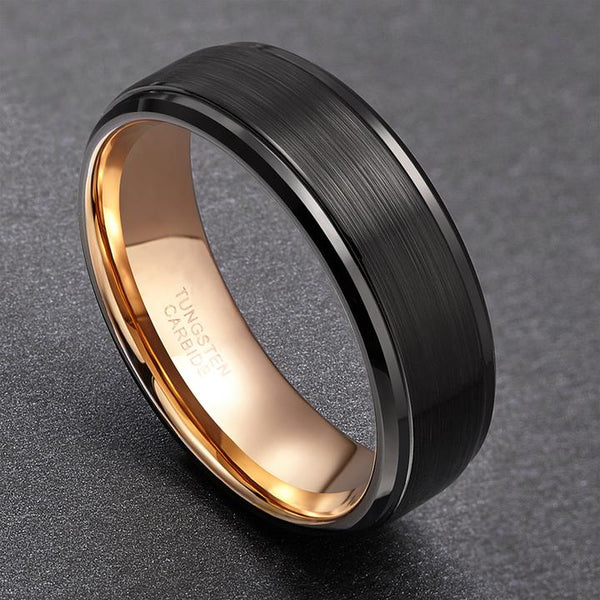 Mens Promise Rings - Black Gold Plated Tungsten Mens Rings