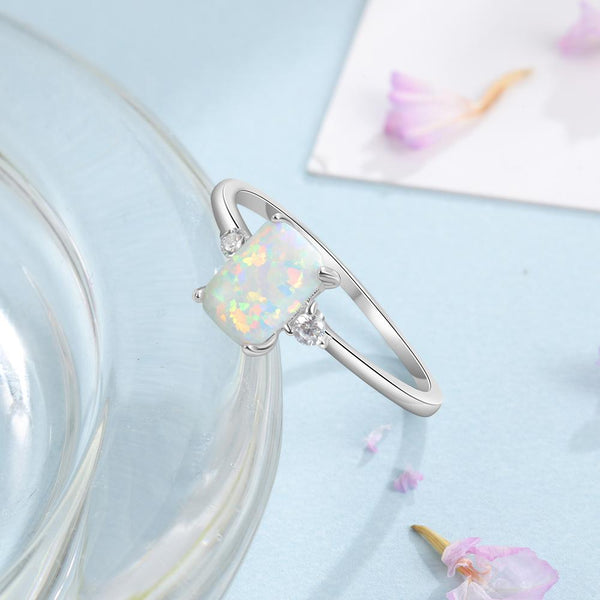 Promise rings for her - white opal silver ring