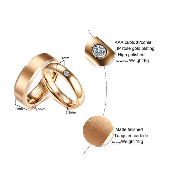 Rose Gold Tungsten Couples Rings