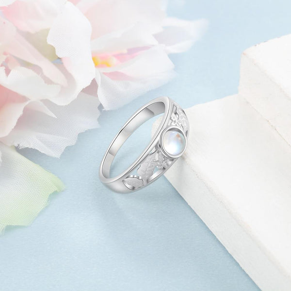 Moonstone ring - moonstone and leaf ring for women