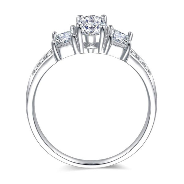 Promise ring for women - cubic zirconia silver ring for her