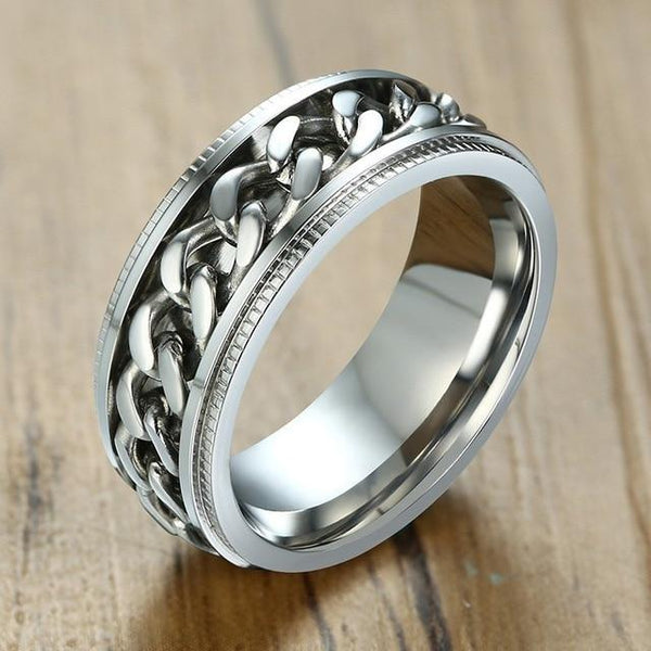 Silver rotatable spinner mens ring