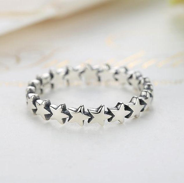 Star Space Sterling Silver Womens Ring