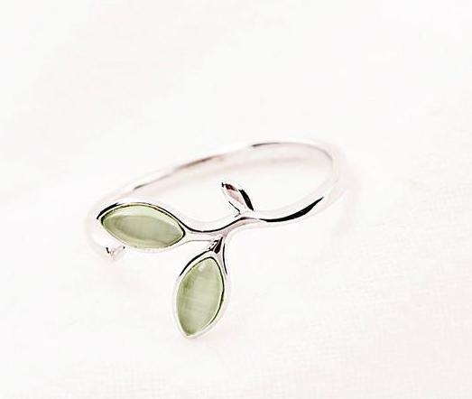 Opal leaf nature sterling silver womens ring