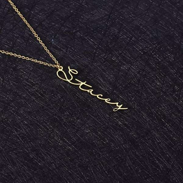 Vertical handwriting personalized name necklace