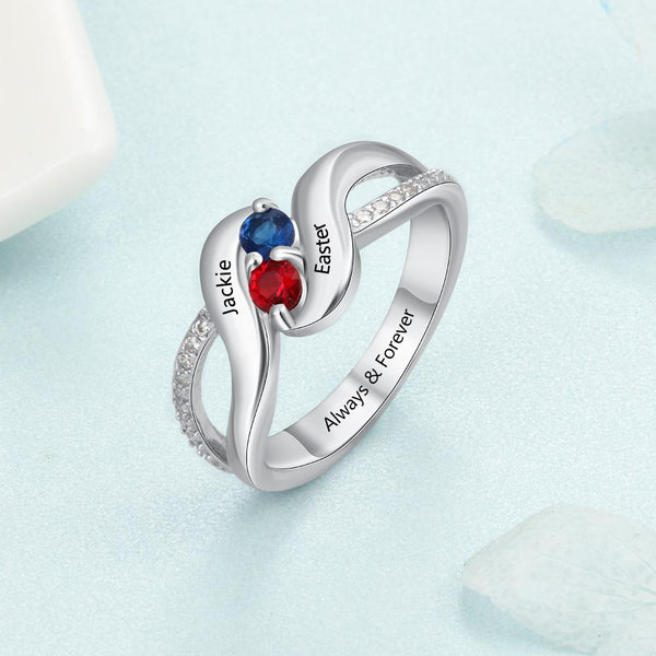 Promise rings for her - personalized birthstone womens ring
