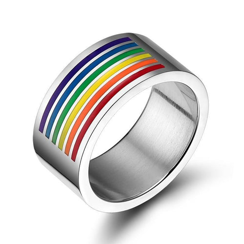 Promise Rings - 10mm Colorful Top Rainbow Stainless Steel Silver Unisex Ring