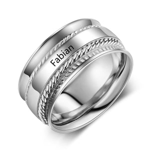 Promise Rings - 10mm Double Band Rhodium Plated Silver Womens Ring - 1 Top Engraving