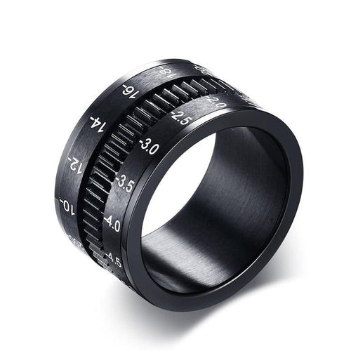 Promise Rings - 12mm Camera Lens Photographer Design Spinner Men's Ring (Anxiety Relief)