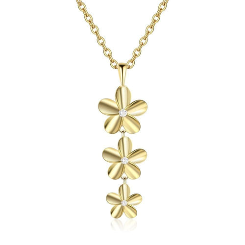 Necklaces - 18K Gold Plated Triple Flowers Necklace