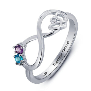 Promise Rings - 2 Birthstones + 1 Engraving Sterling Silver Infinity Hearts Womens Ring
