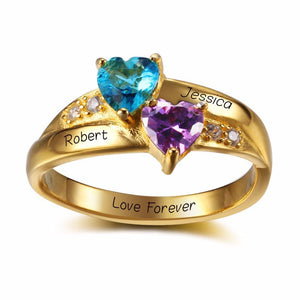 Promise Rings - 2 Heart Birthstones + 3 Engravings 18K Gold Plated Sterling Silver