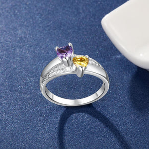 Promise Rings - 2 Heart Birthstones & 3 Engravings 925 Sterling Silver Womens Ring