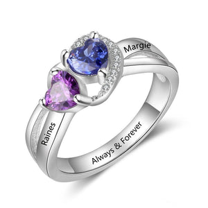 Promise Rings - 2 Hearts 925 Sterling Silver Womens Ring - 2 Birthstones & 3 Engravings