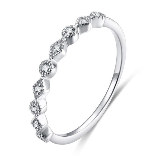 Promise Rings - 2mm 5A+ Cubic Zirconia 925 Sterling Silver Women's Ring