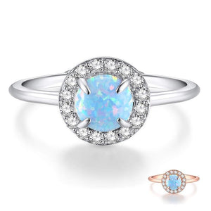 Promise Rings - 2mm Blue Fire Opal 925 Sterling Silver Women's Ring (2 colors)