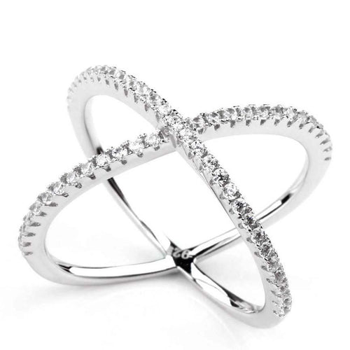 Promise Rings - 2mm Cross Cubic Zirconias 925 Sterling Silver Womens Ring (3 Colors)