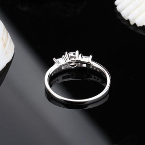 Promise Rings - 2mm Eternity Cubic Zirconia 925 Sterling Silver Womens Ring