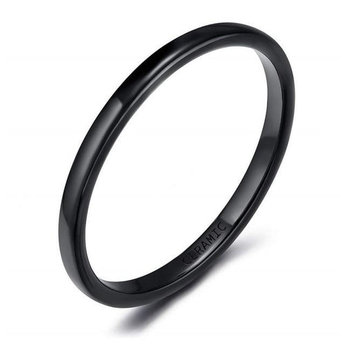 Promise Rings - 2mm Slim Black Smooth Ceramic Unisex Ring (Allergy Free)