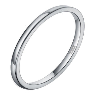 Promise Rings - 2mm Slim Simple Silver Tungsten Womens Ring