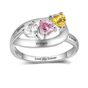 Promise Rings - 3 Hearts 925 Sterling Silver Womens Ring - 3 Heart Birthstones & 4 Engravings