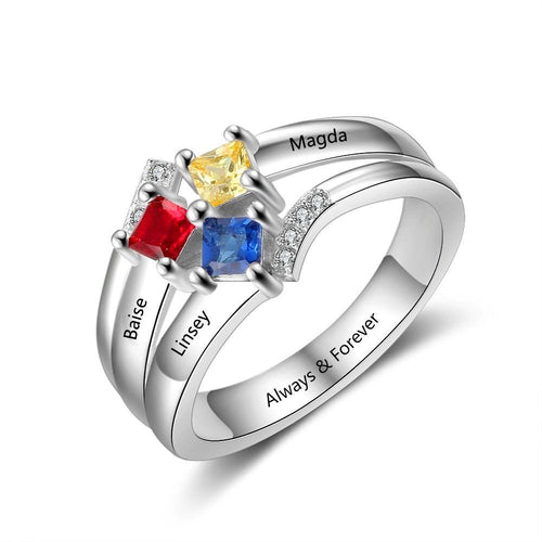 Promise Rings - 3 Square Birthstones 925 Sterling Silver Womens Rings - 4 Engravings