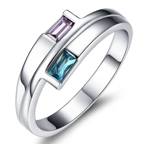 Promise Rings - 3mm Blue & Purple CZ 925 Sterling Silver Womens Ring