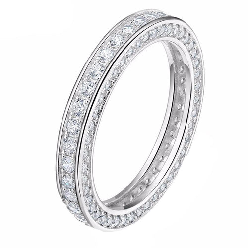 Promise Rings - 3mm Clear Crystals 925 Sterling Silver Womens Ring