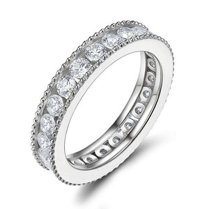 Promise Rings - 3mm Eternity Cubic Zirconias Sterling Silver Women's Ring