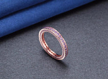 Promise Rings - 3mm Purple Crystal 925 Sterling Silver Womens Ring