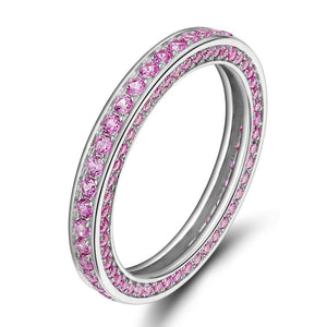 Promise Rings - 3mm Purple Crystals 925 Sterling Silver Womens Ring