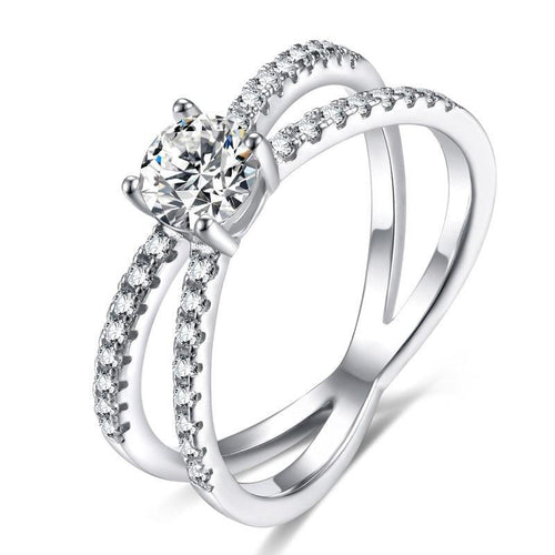 Promise Rings - 4mm 5A+ Cubic Zirconia 925 Sterling Silver Women's Ring