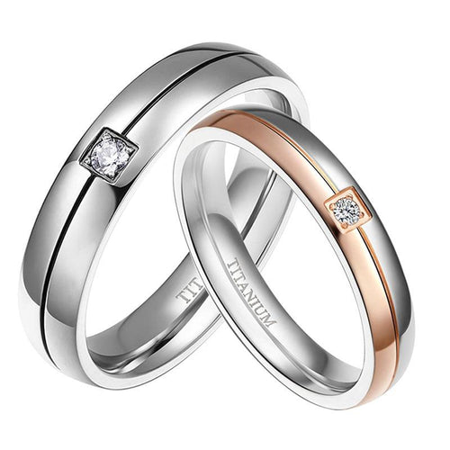Promise Rings - 4mm & 5mm Rose Gold/Silver Color Titanium Couples Rings (Set/2Pc)